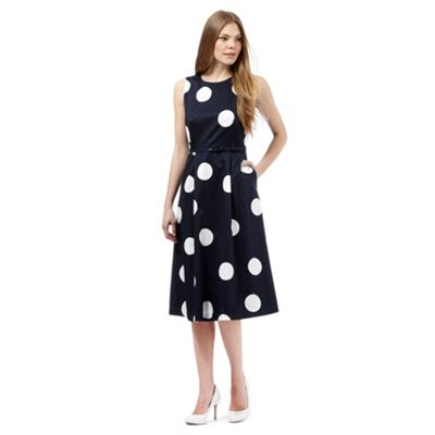 J by Jasper Conran Navy spot print belted dress