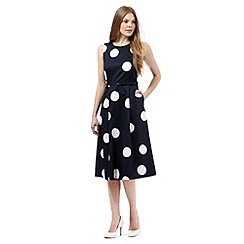 J by Jasper Conran - Navy spot print belted dress