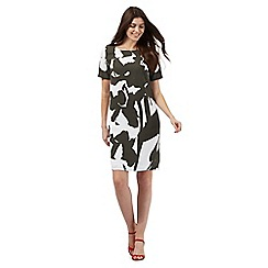J by Jasper Conran - Khaki and white brush stroke floral print shift dress