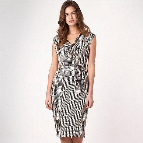 J by Jasper Conran - Navy geometric drape dress
