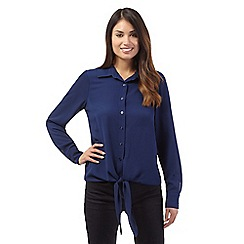 J by Jasper Conran - Navy long sleeve tie front blouse