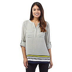 J by Jasper Conran - Navy long sleeve tile print shirt