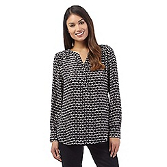 J by Jasper Conran - Navy long sleeve geometric print blouse