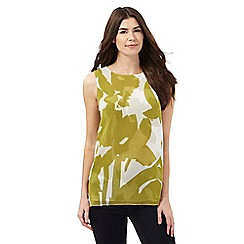 J by Jasper Conran - Green and white brush stroke floral print top