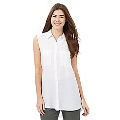 J by Jasper Conran - White textured longline shirt