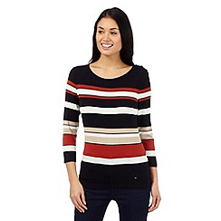 J by Jasper Conran - Black striped button shoulder top