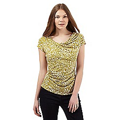 J by Jasper Conran - Green spotted print cowl neck top