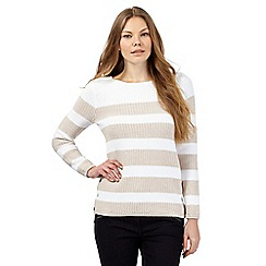 J by Jasper Conran - Beige chunky striped print jumper