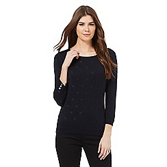 J by Jasper Conran - Navy spot embroidered jumper