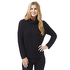 J by Jasper Conran - Navy cable knit roll neck jumper