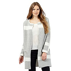 J by Jasper Conran - Pale grey colour block zip detail coatigan