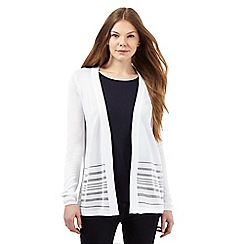 J by Jasper Conran - White burnout stripe insert cardigan