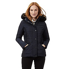 J by Jasper Conran - Navy padded faux fur trim hooded jacket
