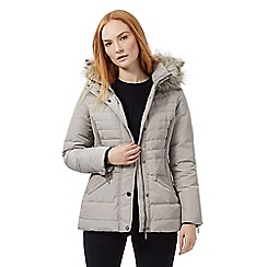 J by Jasper Conran - Grey padded faux fur trim hooded jacket