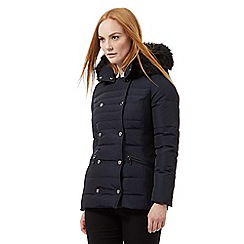J by Jasper Conran - Navy padded double breasted faux fur trim hooded jacket