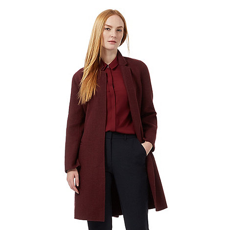 J by Jasper Conran Dark red coat with wool | Debenhams
