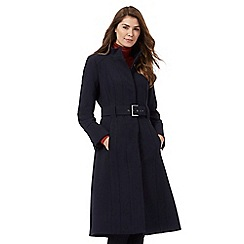 J by Jasper Conran - Navy blue long crepe funnel coat