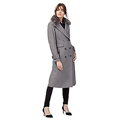 J by Jasper Conran - Grey wool blend faux fur collared coat