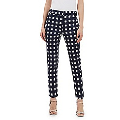 J by Jasper Conran - Navy square print cropped trousers