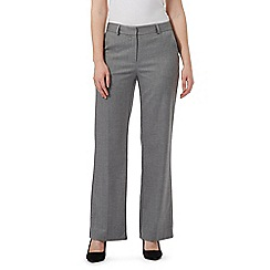 J by Jasper Conran - Grey textured herringbone wide leg trousers