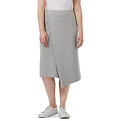 J by Jasper Conran - Grey knitted layered midi skirt