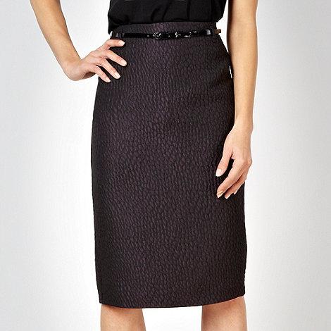 J by Jasper Conran - Black jacquard belted skirt