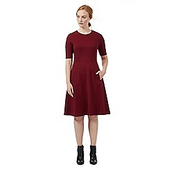 J by Jasper Conran - Dark red fit and flare ponte dress