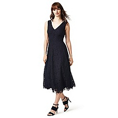 J by Jasper Conran - Navy lace v-neck midi skater dress