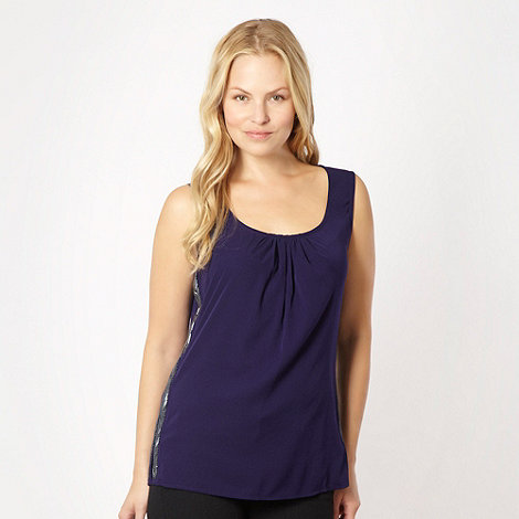 J by Jasper Conran - Dark purple chevron embellished top - size 14