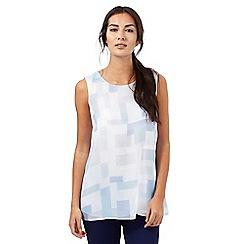 J by Jasper Conran - Blue square print double layer top