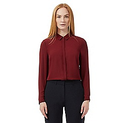 J by Jasper Conran - Dark red plain collared blouse