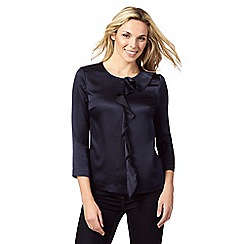 J by Jasper Conran - Navy hammered frilled blouse
