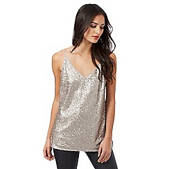 J by Jasper Conran - Light gold sequin detail cami top