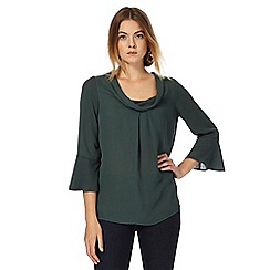 J by Jasper Conran - Dark green bell sleeves cowl neck top