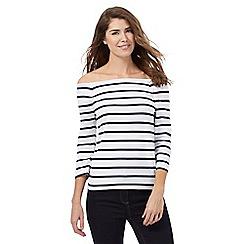 J by Jasper Conran - White striped Bardot top