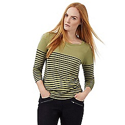 J by Jasper Conran - Green three quarter length sleeved striped top