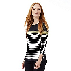 J by Jasper Conran - Navy three quarter length sleeved striped top
