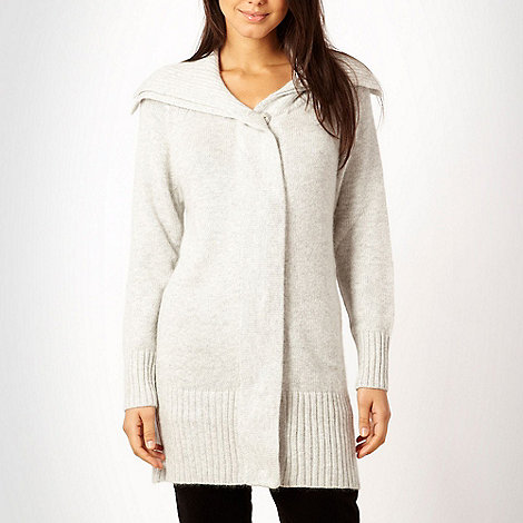 J by Jasper Conran - Light grey ribbed collar coatigan