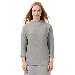J by Jasper Conran - Grey slouchy ribbed jumper