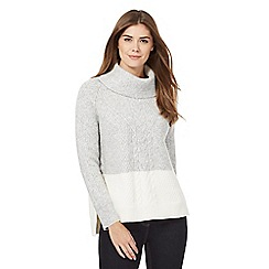 J by Jasper Conran - Grey colour block chunky knit jumper