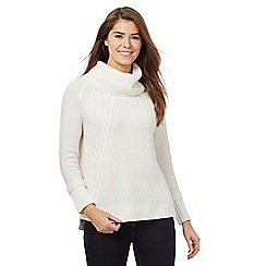J by Jasper Conran - White chunky knit cowl neck jumper with wool