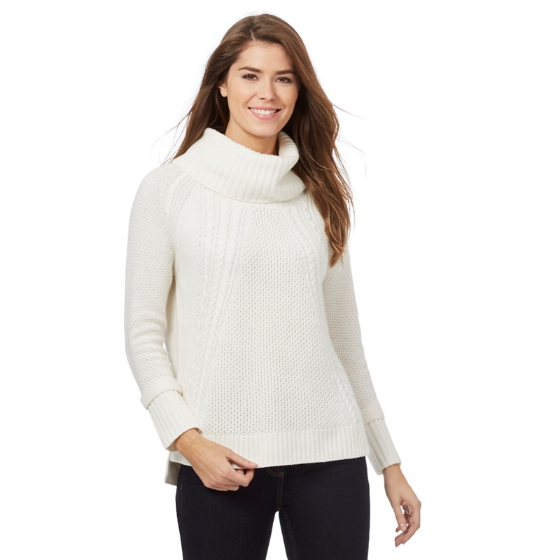 J by Jasper Conran White Chunky Knit Cowl Neck Jumper With