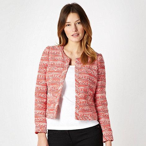 J by Jasper Conran - Red collarless tweed jacket - size 16