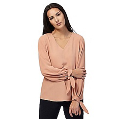 J by Jasper Conran - Dark peach tie sleeve V-neck top