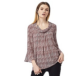 J by Jasper Conran - Dark red spot striped flute sleeved top