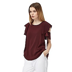 J by Jasper Conran - Dark red frilled sleeve top