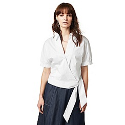J by Jasper Conran - White wrap self-tie hem top