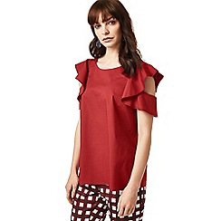 J by Jasper Conran - Dark red ruffled sleeve top