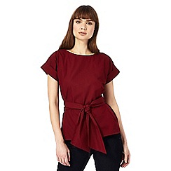 J by Jasper Conran - Dark red self-tie waist top