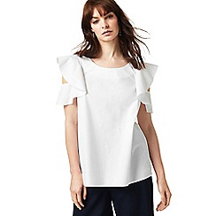 J by Jasper Conran - White ruffle shoulder top